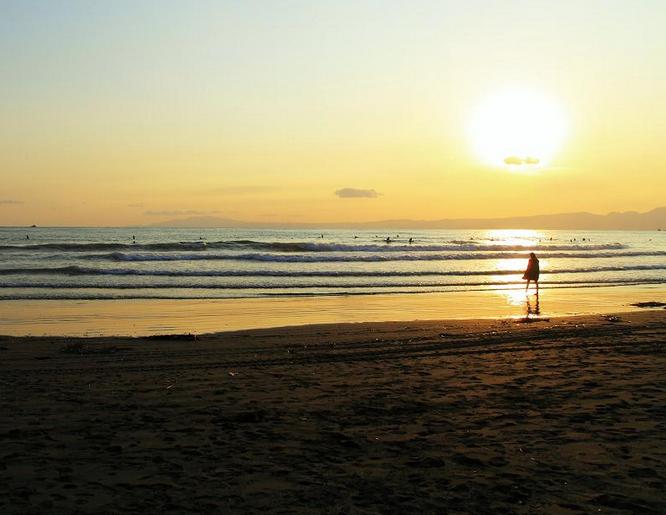 湘南海岸の夕日