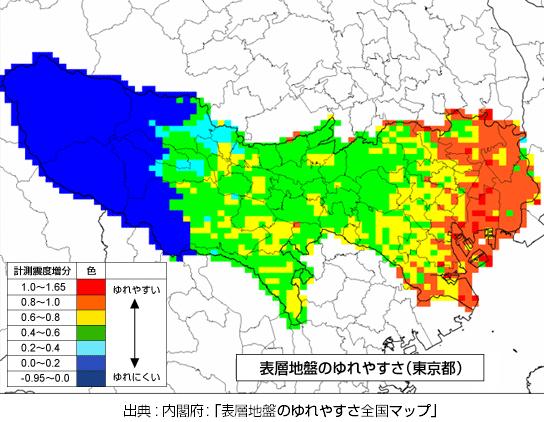 東京で地震に強い地域マップ