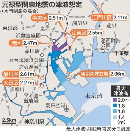 東京湾の津波の想定