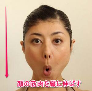 顔ヨガ、顔の筋肉を縦に伸ばすやり方