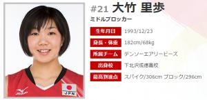 女子バレー日本代表の大竹里歩