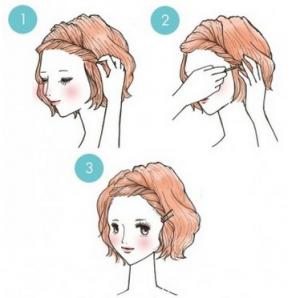 前髪アレンジ、ねじり編