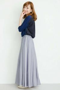 2015秋の流行プリーツスカートのロング