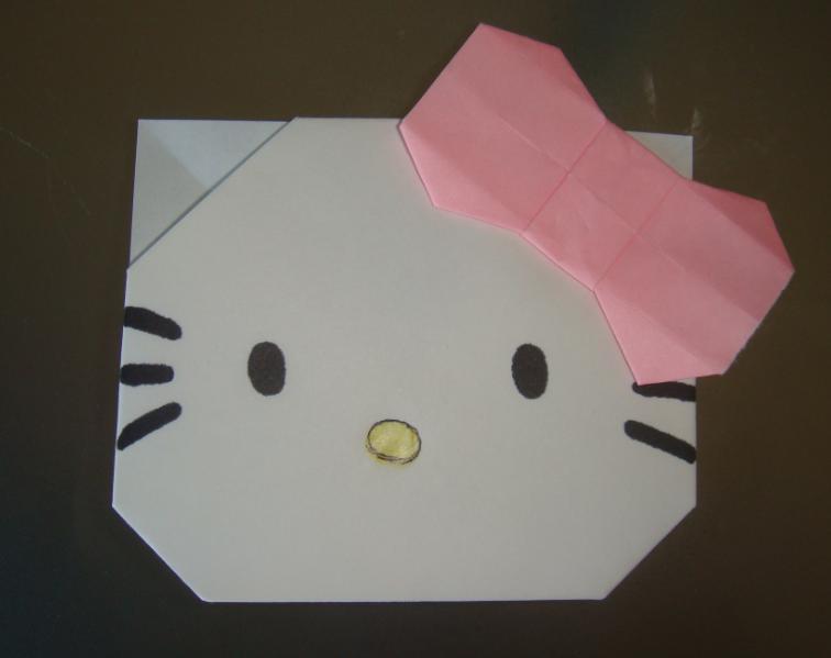 キティちゃん折り紙の折り方ー完成