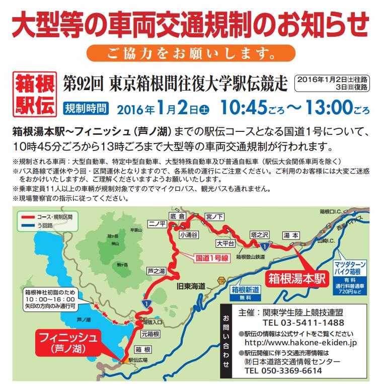 2016年箱根駅伝の交通規制「大型等」