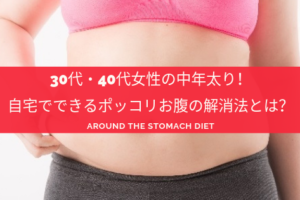 お腹の脂肪を掴む女性