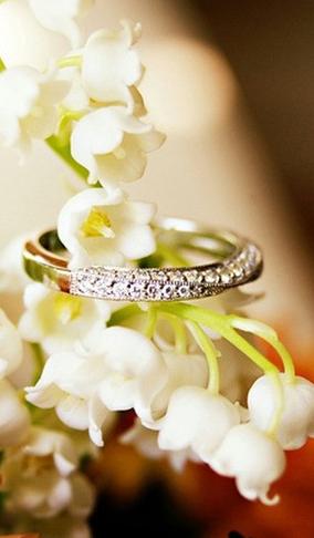 恋愛成就の待ち受け画面「すずらんと指輪」